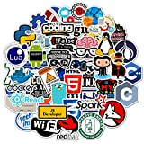50 Pcs Developer Programming Stickers, Vinyl Waterproof Coders, Engineers, Internet Software Graffiti Stickers for Laptop, Phone, Water Bottle, Skateboard