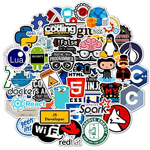 50 Pcs Developer Programming Stickers, Vinyl Waterproof Coders, Engineers, Internet Software Graffiti Stickers for Laptop, Phone, Water Bottle, Skateboard