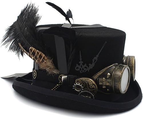 VAXT Laine Bricolage Fedora Steampunk Haut Chapeau pour Femmes Hommes Chapeau Chapeaux Lunettes Steampunk