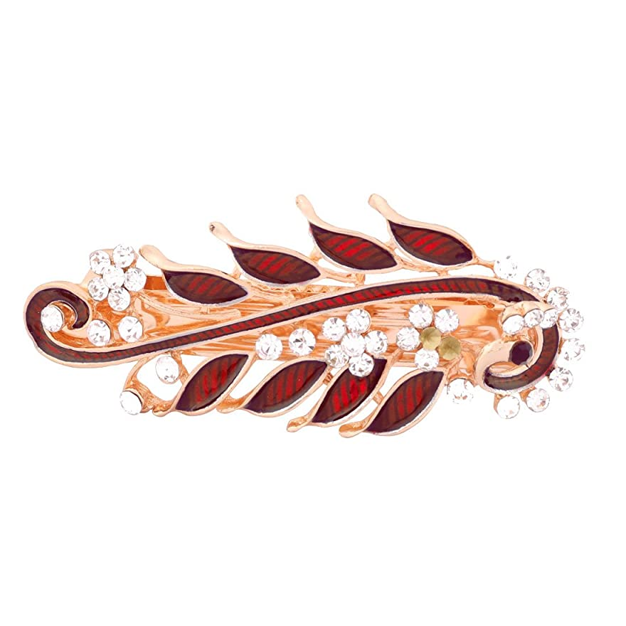 バイパス弓豚uxcell  ヘアクリップ メタル製 レッド フレンチクラスプ レトロスタイルヘアピン