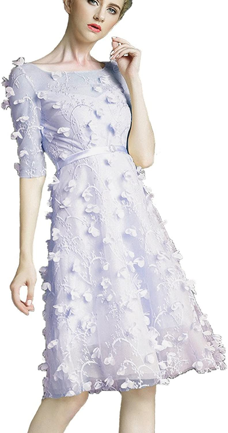 colorDRESS color e Dress Women's Short Prom Dresses with Sleeves Lace Bridesmaid Evening Dresses