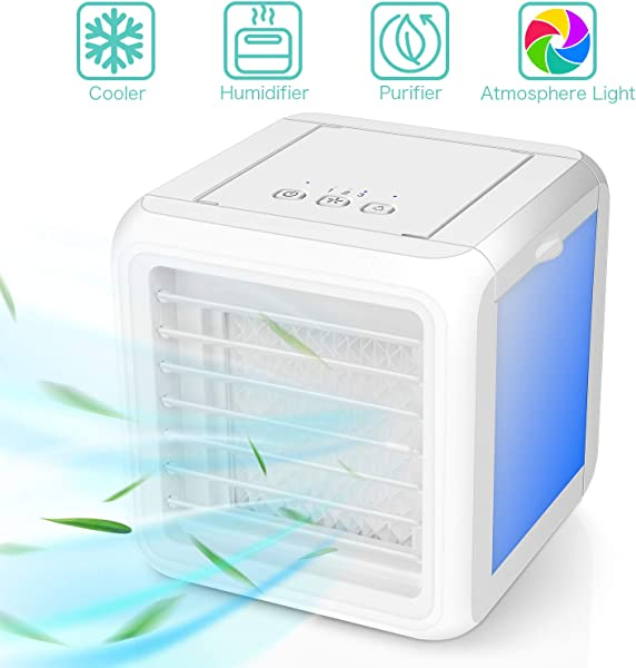 Portable Air Conditioner Fan 3 In 1 Personal Space Air Cooler Humidifier Purifier Desktop Cooling Fan Table Fan With Dual Detachable Water Tank 7 Colors LED Lights For Home Kitchen Office Dorm
