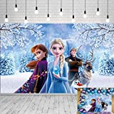 BEAF Photography Background 5x3ft Frozen Theme Photo Backdrop for Baby Shower Seamless Photo Background Vinyl Anna and Elsa Disney Princess Backdrops for Girls Birthday Party Decorations, 4426 7X5