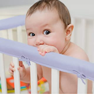 EXQ Home 3-Piece Baby Crib Rail Cover Set for 1 Front Rail and 2 Side Rails,Safe Kids Padded Crib Rail Protector from Chewing for Standard Cribs,Soft Batting Inner for Baby Teething Guard(Purple)