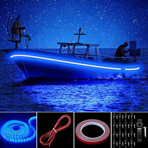 Pontoon LED Strip Lights, 16.4FT 12V Waterproof Marine Boat Interior Courtesy Lights, Under Deck Night Fishing Lights with Mounting Brackets Adhesive Tape and Extension Cable for Pontoon Boat (Blue)