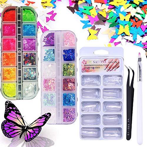 3D Holographic Butterfly Nail Art Sequin,Kalolary 24 Farben/Set Nagelpailletten und 100 transparente französische natürliche Halbnagel, eine UV-Gel-Nagelbürste und Pinzette zur Nageldekoration
