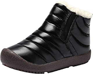 WUIWUIYU Boys Girls Outdoors Waterproof Pull Tab Slip On Warm Fur Lined Snow Boots Ankle Booties