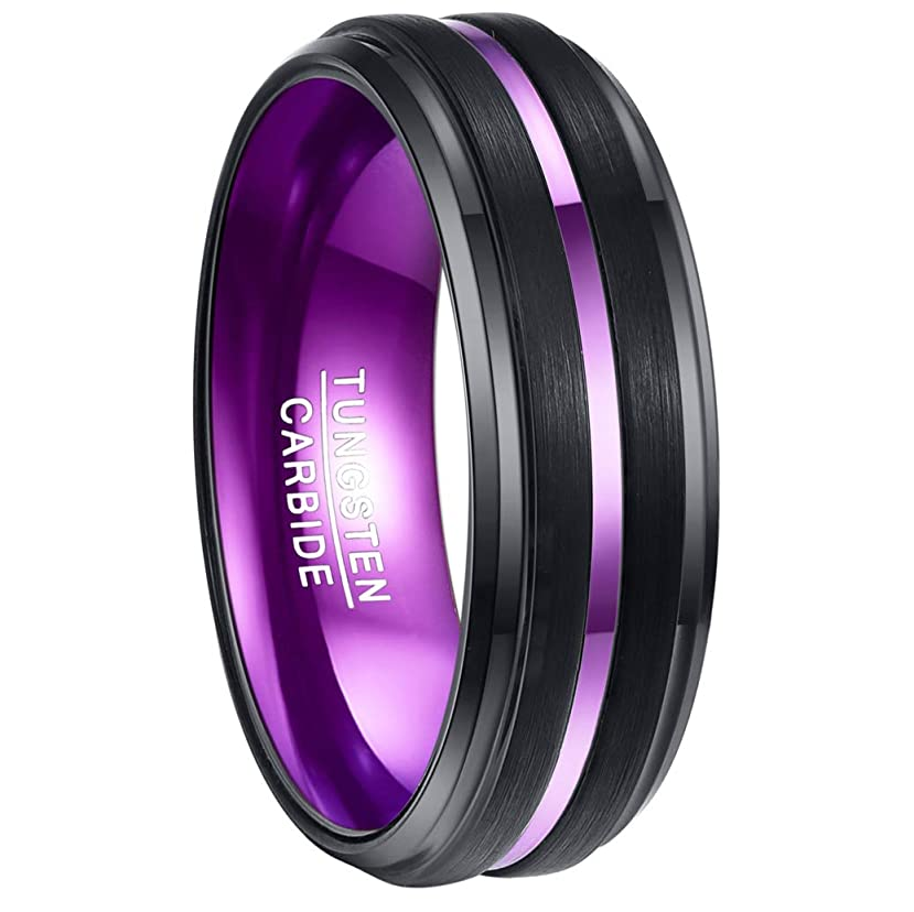 好ましい乙女おばあさんVakki メンズ リング タングステン 凹み 指輪 平打ち 幅:8mm カラー: パープル 超硬 26号