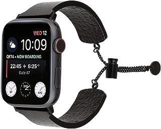 Pulsera de Acero Inoxidable 316 con Grabado en Relieve para Apple Watch Series 5 y 4, 40 mm, 3 y 2 y 1 38 mm, Color Negro