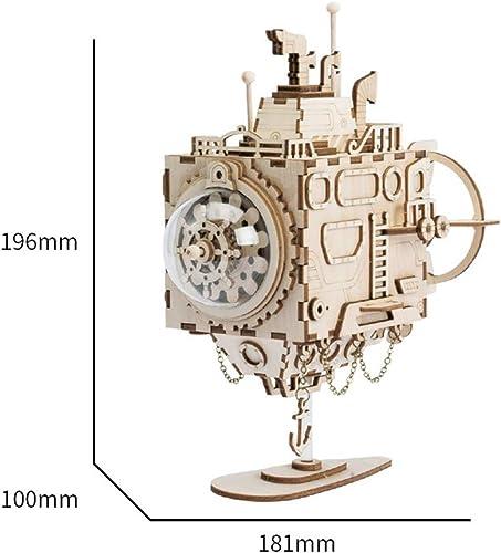 XUMING Maquette, kit de Bricolage en Bois de modèle de Puzzle en Bois modèle 3D pour Enfants de Plus de 6 Ans, Cadeau de Boîte à Musique mécanique pour Bateau d'aventure