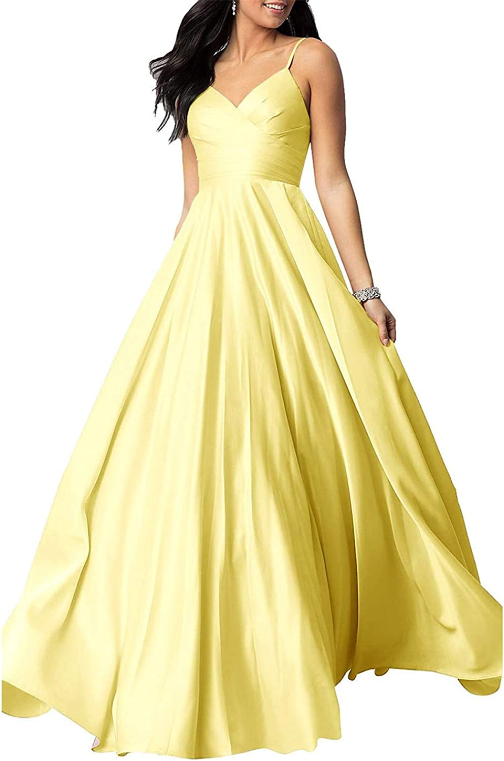 TTdamai Satin Prom Dresses Long Straps V Neck Formal Evening Ball Gowns Pockets