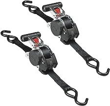 Master Lock 3238EURDAT Intrekbare Spanband met ratel en S-haken, zwart, 3 m x 25 mm Spanband, Verpakking van 2