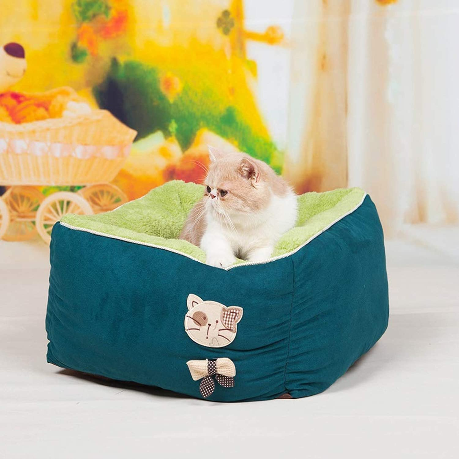 QYQ Pet Kennel Cat Litter Completely Detachable And Warm Comfortable Breathable Fluff Zipper Design Material Wear and Tear Resistant Bite Threepiece Nest Teddy Pet Bed (color   GREEN)