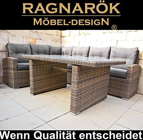 Ragnarök-Möbeldesign DEUTSCHE Marke - EIGNENE Produktion 8 Jahre GARANTIE auf UV-Beständigkeit PolyRattan Gartenmöbel Tisch + Dinning Lounge - 3