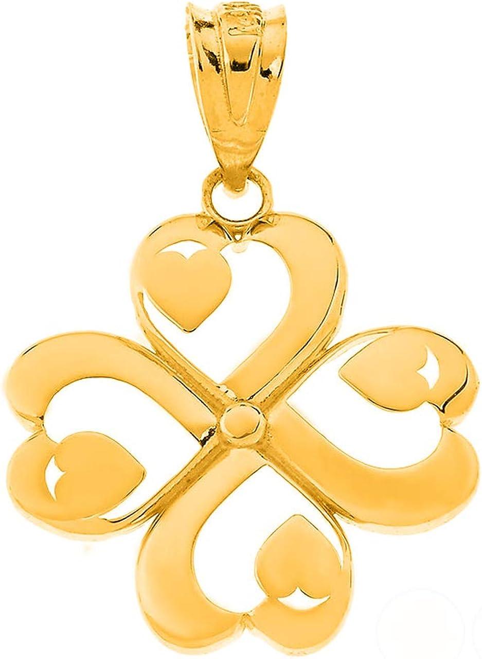Certified 14k Gold Shamrock Good Luck Four Leaf Heart Clover Pendant