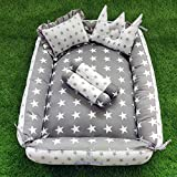 MOTHERHOOD Box Baby Tub Bed and 4 pc Baby Pillow Luxury Baby Mattress Bed Sleeper Bedding Set co-Sleeper, Safe Cotton Fabric with R-Filled Ultra-Soft Comfortable for Newborn to Toddlers- Gray