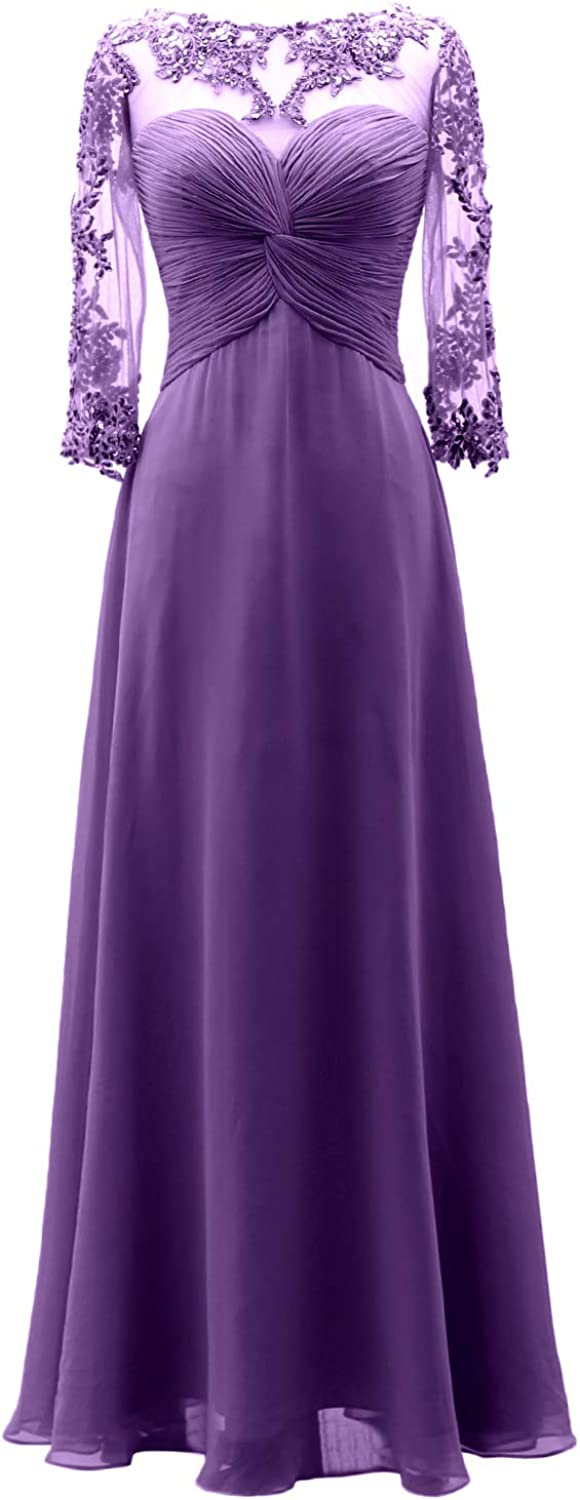 MACloth Women 3 4 Sleeves Lace Wedding Party Mother of Bride Dress Ball Gown