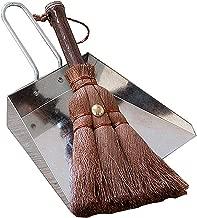 Huibot Metal Dustpan and Brush Set Handmade Natural Bristle Broom Mini Size Dust Pan