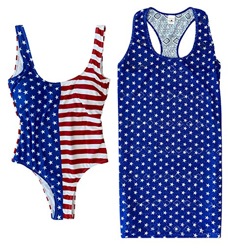 Women's Americana One Piece Swimsuit and Matching Coverup Swimsuit Bathing Suit Bathingsuit Set Large