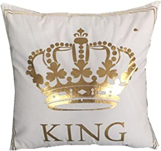 FASHIONDAVID Gold King Crown Bronzing Flannelette Square Decorative White Throw Pillow..