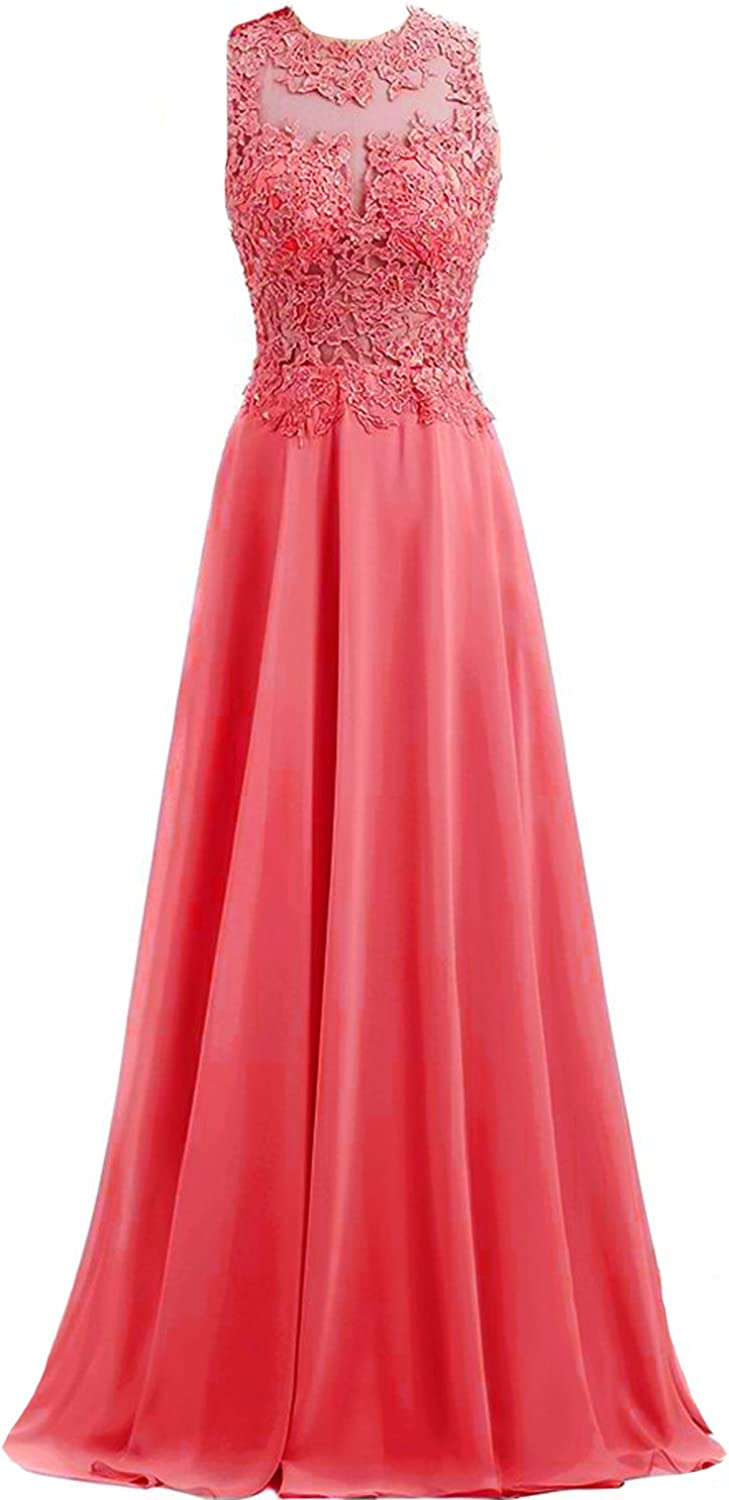 Kivary Open Back Sheer Top Beaded Lace Appliques Long Prom Evening Dresses