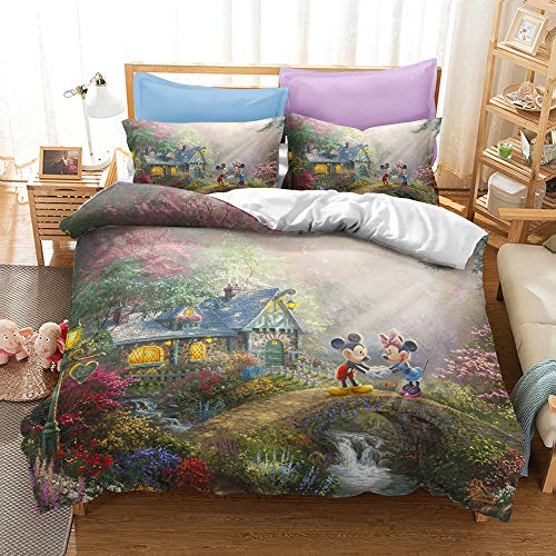 Enhome Duvet Cover Set for Single Double King Size Bed, Kids Adult Children Boys Girls Microfiber Bedding Set 3D Printed Duvet Set 3 Pieces with Quilt Case Pillowcases (Disney,200x200cm)