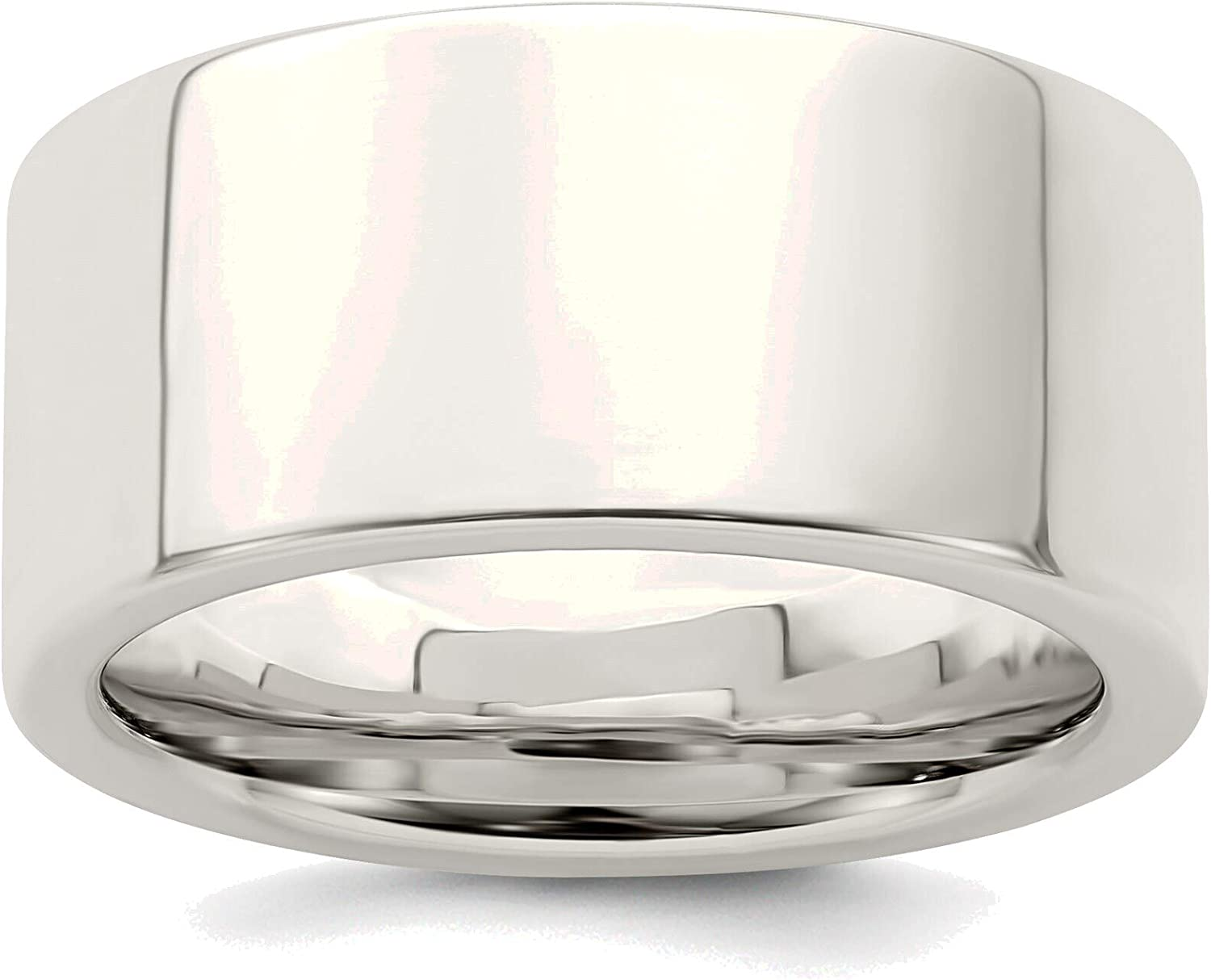 Bonyak Jewelry Max 46% OFF 10mm Comfort Los Angeles Mall Fit Flat Solid Sterl in 13 Size Band