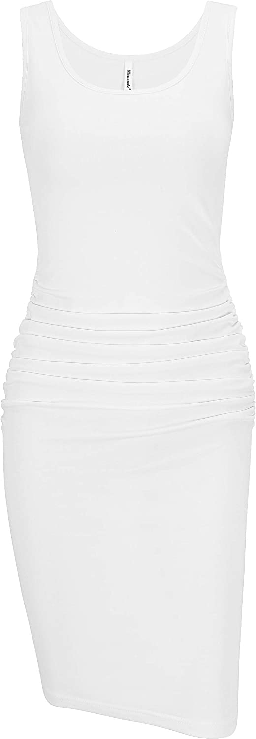 Missufe Women's Sleeveless Casual Bodycon Ruched Sheath Tank Sundress Knee Length Fitted Dress