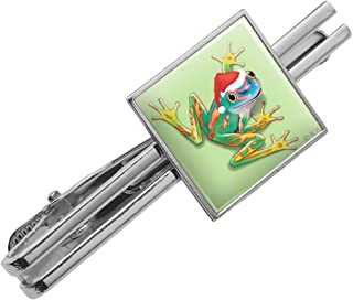 Graphics and More Santa Hat Rainforest Christmas Tree Frog Square Tie Bar Clip Clasp Tack- Silver or Gold
