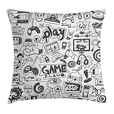 "Ambesonne Video Games Throw Pillow Cushion Cover, Monochrome Sketch Style Gaming Design Racing Monitor Device Gadget Teen 90's, Decorative Square Accent Pillow Case, 18"" X 18"", White and Black from Ambesonne"