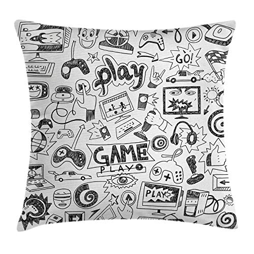 ABAKUHAUS Videojuegos Funda para Almohadar, Diseño MonocromáticoBosquejo Juegos Carrera Monitor Aparato Adolescente 90s, Lavable con Cremallera Escondida Estampa Digital, 45 x 45 cm, Blanco