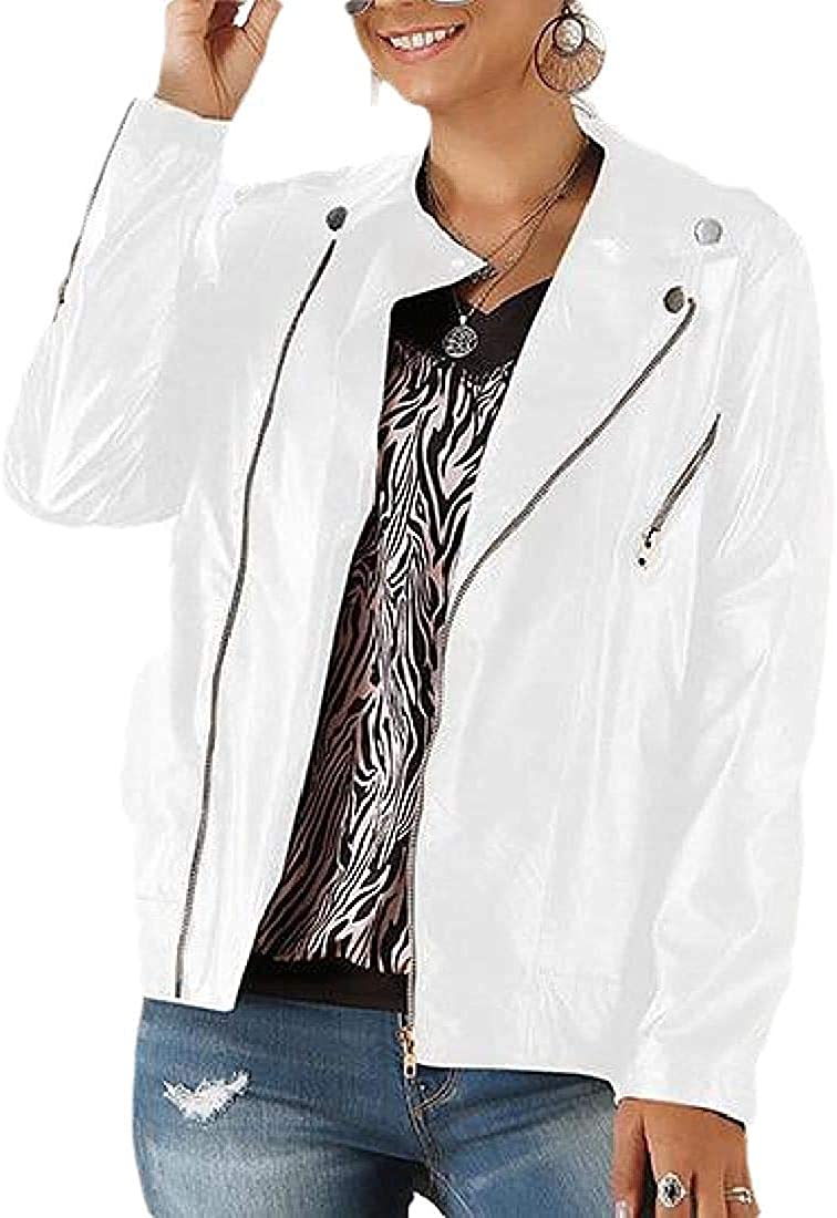 Women Short Moto Biker Faux Jackets Classic Side Zipper Coats Outwear,White,Large