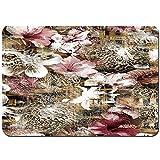 Antideslizante Alfombra De Baño,diseño de Patchwork de Flores de Piel de Animal,Alfombra de Cocina Alfombra Mascota,Alfombras de Ducha 80x60cm