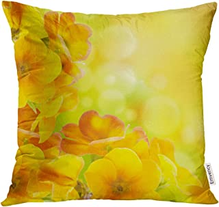 Semtomn Throw Pillow Cove Orange Photography Yellow Flowers on Spring Primrose Green Color Decor Square 18x18 Inches
