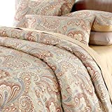 Duvet Cover Set Paisley Bedding Design 800 Thread Count 100% Cotton 3Pcs,Queen Size,Khaki