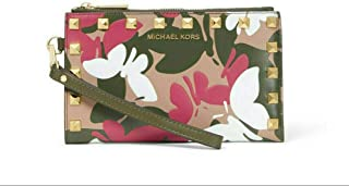 MICHAEL Michael Kors Adele Butterfly Camo Leather Smartphone Wallet in Olive