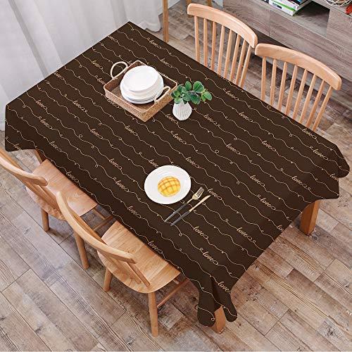 Rechteck Tischdecke140 x 200 cm,Brown, dunkelbraunes Hintergrundbild mit Motivbeschriftungen Hope Love ,Couchtisch Tischdecke Gartentischdecke, Mehrweg, Abwaschbar Küchentischabdeckung für Speisetisch