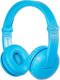BuddyPhones - Wireless Bluetooth Headphones for Kids BuddyPhones Play | Kids Safe Volume Limited to 75, 85 or 94 dB | Foldable with 14-Hour Battery Life | Optional Cable for Audio Sharing | Blue