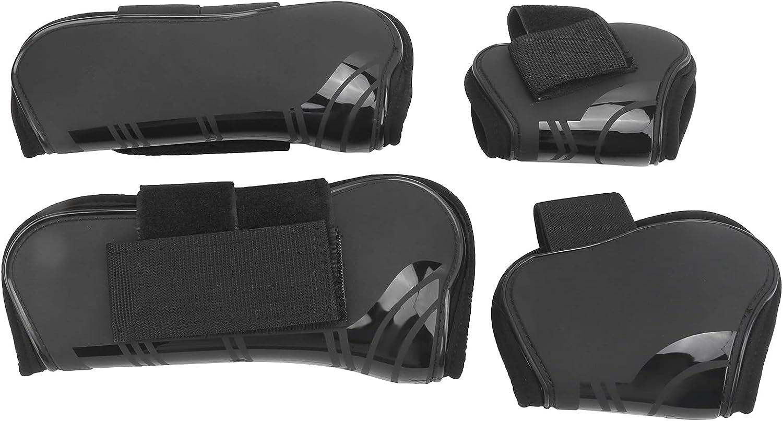 Protector de pata de caballo, fácil de llevar a cualquier lugar Botas de tendón de caballo Material de PU para uso diario para cualquier condición climática(negro, Un juego de cuatro tamaño extra)