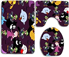 Luigi's Mansion Pattern Toilet Rug Mat Set,3 Piece Non-Slip Extra Soft Shower Bath Rugs Contour Mat and Lid Cover for Bathroom