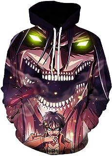 LOOVEE Felpa Attack On Titan Unisex 3D Shingeki No Kyojin Scout Regiment Levi/·Ackerman Anime Cosplay Felpa con Cappuccio Pullover con Pocket Moda a Manica Lunga Maglione Giacca per Uomo Donna