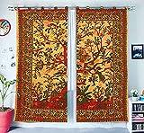 indio tratamientos para ventanas algodón Conjunto de 2 paneles cortina de puerta balcón escarpado tabique cortina de la ducha