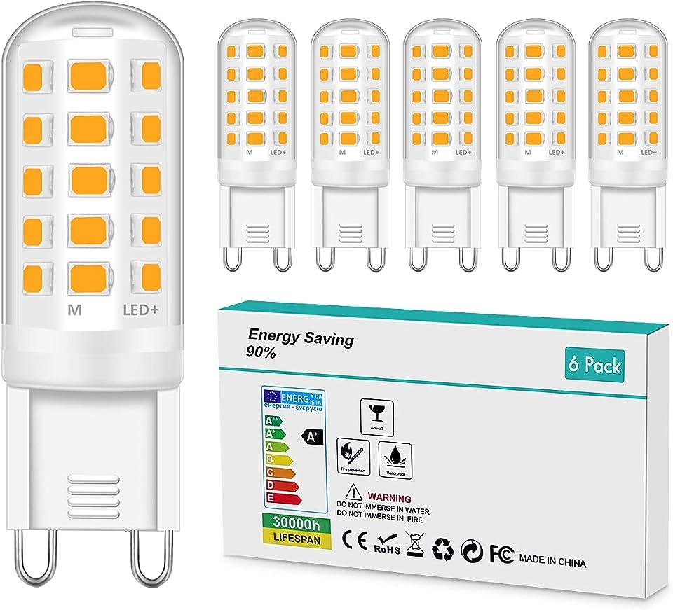 G9 LED Bulbs 5W Warm White,50W Halogen Bulbs Equivalent AC 220-240V Led G9 Bulbs 3000K G9 Socket Led Lamp 360°Beam Angle Energy Saving No Flicker Non Dimmable [Energy Class A+] 6 Pack