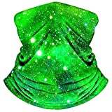 MOBUR Neck Gaiter Face Scarf Mask Bandana Dust Face Mask Headband with Adjustable Tie Behind Head Straps (Green Galaxy)