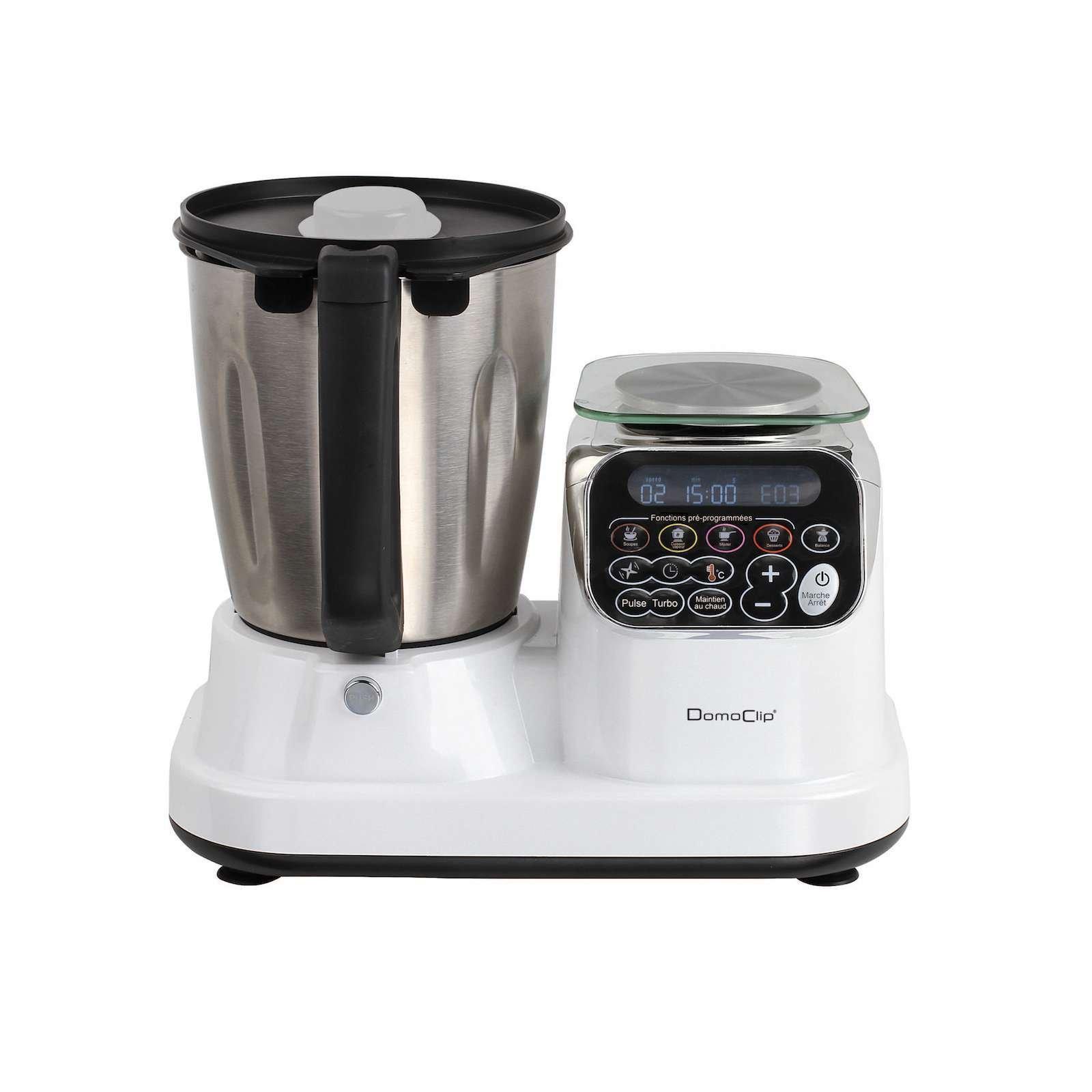 Robot de cocina con función de cocción fuerte 1200 W Báscula de cocina Hojas de acero inoxidable temporizador Fácil de usar (Cuenco de acero inoxidable 2,5 litros, – Amasadora, amasadora, función turbo,