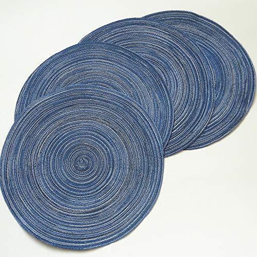 Manteles individuales,Alfombrilla de comedor de mesa de comedor de estilo nórdico, fondo gourmet para hornear, posavasos redondo, azul, 6 piezas
