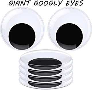 Sunmns 4 Inch Large Sized Plastic Wiggle Eyes with Self Adhesive for Craft Decorations 4 Pack