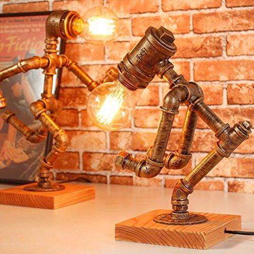 Rétro Lampe de Table E27 Source de Lumière Base de Bois Solide Lampe de Bureau pour Lampe de Décoration de Bar Café