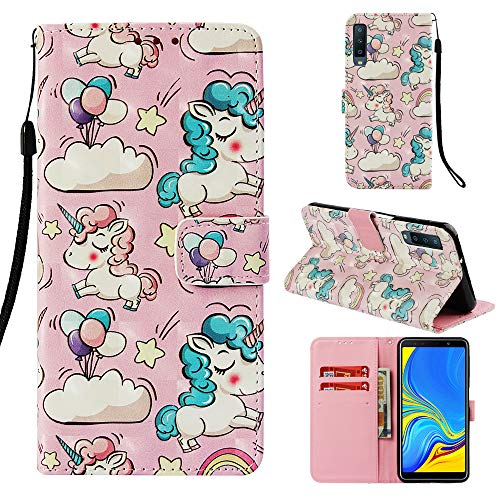 DodoBuy Huawei Y6 2019/Honor 8A Case Wallet 3D Magnetic Flip Folio PU Leather Cover Kickstand Card Holder for Huawei Y6 2019/Honor 8A - Unicorn