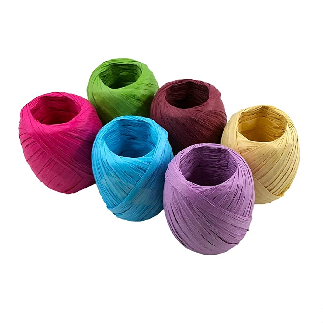 JumpyFire Colorful Raffia Ribbon,6 Rolls Total 396 Feet Gift Wrapping Ribbon, Raffia Paper String for Festival Christmas Holiday Brithday